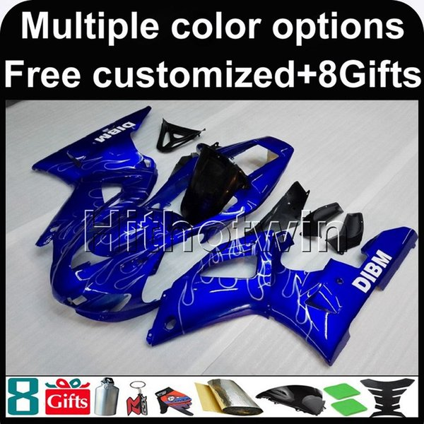 23colors+8Gifts blue motorcycle cover for Yamaha YZF-R1 1998-1999 98 99 YZFR1 1998 1999 98-99 ABS Plastic Fairing