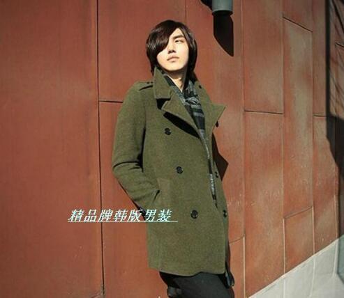 2017 verde marrom preto coreano adolescente moda casual casaco de lã homens trincheira casacos mens casacos de lã casacos vestido de inverno S-3XL