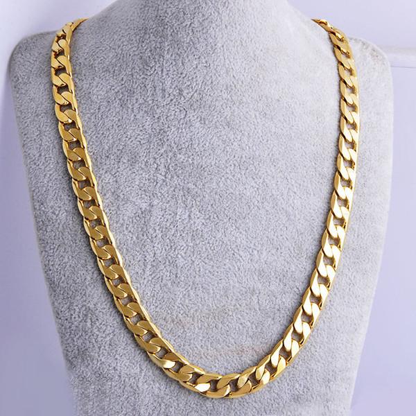 Nuovo grande 10 millimetri dia giallo solido oro riempito collana a catena cubana di spessore mens gioielli donna fresco per papà fidanzato regalo di compleanno