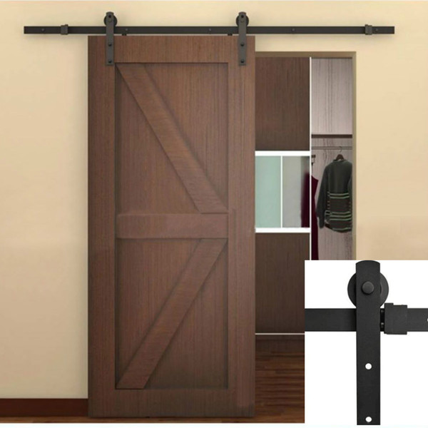 5FT / 6FT / 6.6FT / 8FT Black Rustic Industrial Single Sliding Barn Wood Door Hardware Straight Roller Track Kit Wardrobe