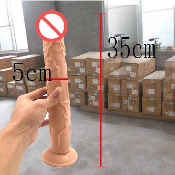 35*5CM Realistic Dildo Flexible Penis Dick with Strong Suction Cup Adult Sex Products Sex Toys for Woman Fake Dicks Q99