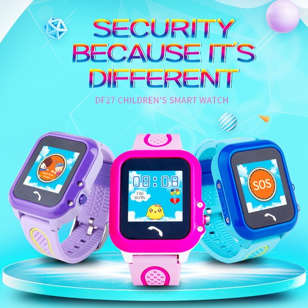 Waterproof IP67 GPS Smart Watch for Kids Children SOS Call Location Finder GPS LBS Double Tracker DF27 Watches Phone with Touch Screen Xmas