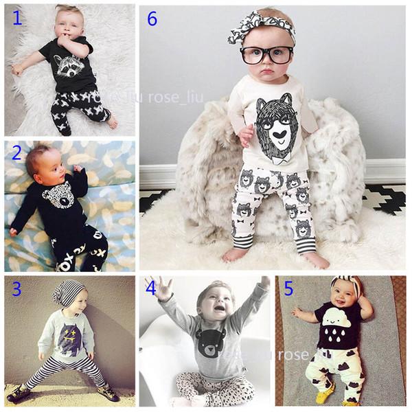 30 Estilo Bebê INS fox tarja letra pijama Ternos Crianças Criança Infantil Casual Curto manga comprida T-shirt + calças 2 pcs conjuntos Terno B