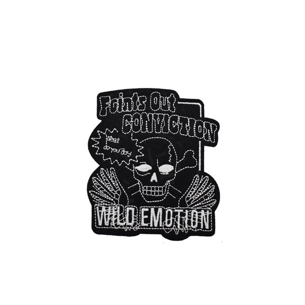 1PCS black skull embroidery patches for clothing iron patch for clothes applique sewing accessories stickers badge on cloth iron on patches