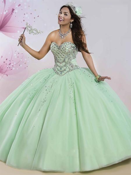 Mint vestidos de 15 anos with Rhinestones Crystals Bodice and Sheer Bolero Beaded Tulle Coral Quinceanera Dresses 2017 Sweetheart Neckline