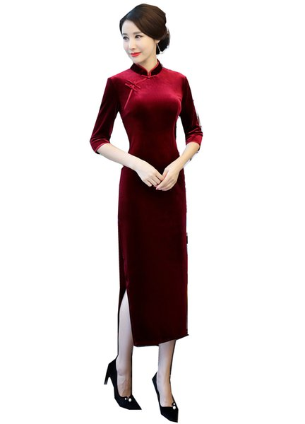 Shanghai Story Chinese Style Dress Velvet Long Qipao Chinese traditional dress Half Sleeve cheongsam dress Autumn Qipao 2 Color