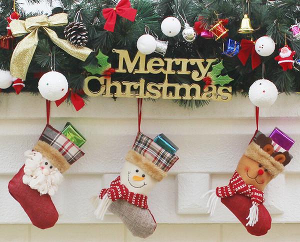 Nuovo arrivo Calze di Natale Decor Ornament Decorazioni per feste Babbo Natale calza Candy calzini Borse Regali di Natale Borsa DHL