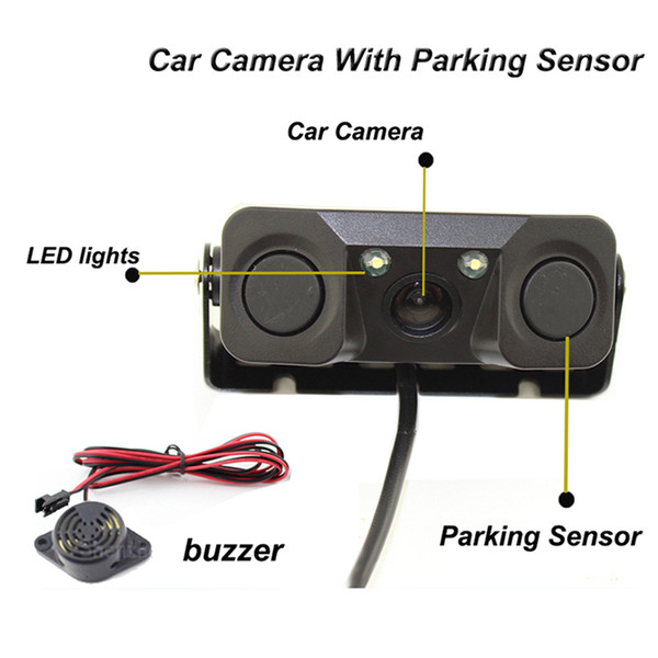 DAN SPEED Waterproof Super Tough Night Vision camera monitor with 2 LED Car Rear View Reverse Camera + 2 Parking Sensor