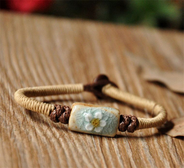 BoYuTe 5Pcs Fashion Bohemia Bracelet Women Flower Carved Ceramic Beads Hand Knitting Rope Chain Bracelet Jewelry Accessories