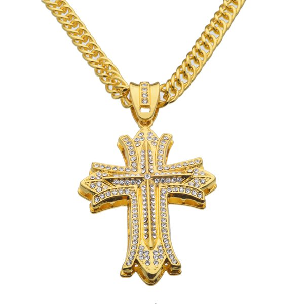 Large Mens Wide Cross Necklace Hip Hop Rap Punk Rock 36inch Long Chain Jewelry N613