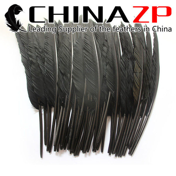 Leading Supplier CHINAZP Crafts Factory 100pcs 25~30cm(10~12inch) Hand Select Dyed Dark Grey Goose Primary Pointer Feather For Decoration