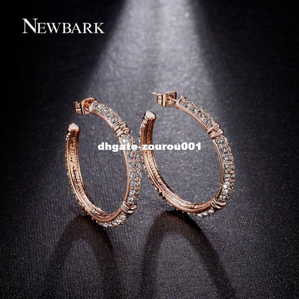 dhgate Hoop Earrings Big Round Earring For Women Luxurious Brincos Unique Clear Rhinestone Paved Rose Gold Color Jewelry Gift