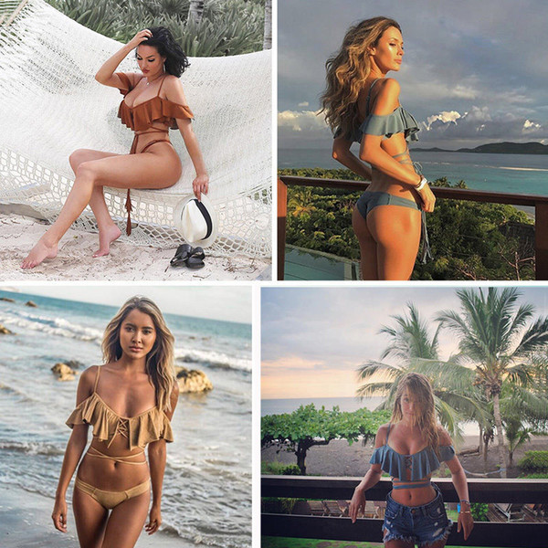 2017 Off the Shoulder Bikini Set Ruffle Top Thong Bandeau Swimsuit Bathing Beach