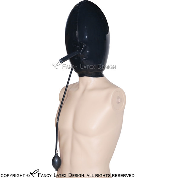 Black Inflatable Sexy Latex Hoods With Inflation Valve Rubber ball Masks Cocoon Balloon Fetish Bondage Hand Pumb Breath Play TT-0030
