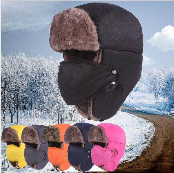 Hot Sale Winter Trapper Hats Cotton Men Women Unisex Lei Feng Hat Outdoor Windproof Thicken Warm Cotton Cap With Masks Cycling Hats