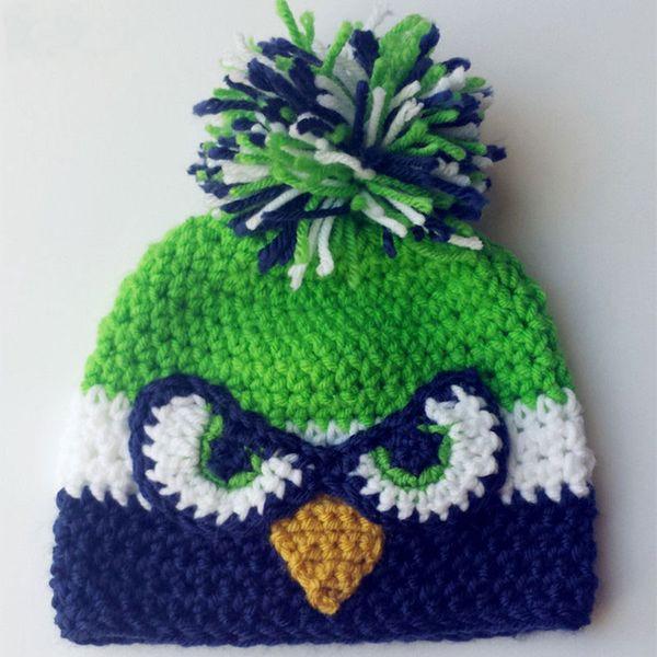 Novelty Football Pompom Beanie,Handmade Knit Crochet Baby Boy Girl Football Team Hat,Kids Animal Winter Hat,Infant Toddler Photo Prop