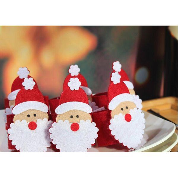 Wholesale- Christmas Santa Claus Napkin Ring Serviette Holders Table Decor Restaurant Supplies 1 PCS