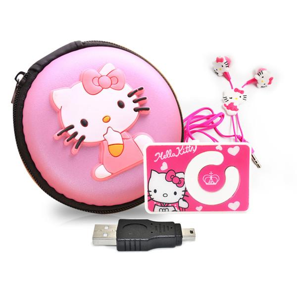 Venda por atacado - Mini desenhos animados Olá Kitty MP3 Player de música Suporte TF Cartão de movimento Mini Clip MP3 + Olá Kitty Fone de ouvido + Mini USB + Hello Kitty Bag