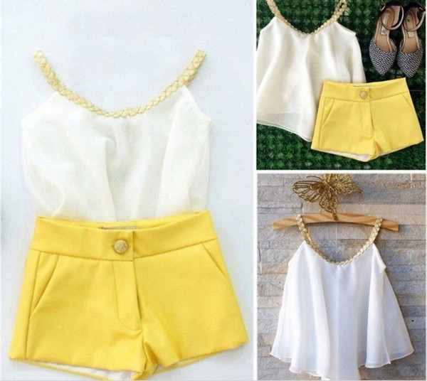 Hot Sell Kids Summer Clothing Sets Baby Girl White Chiffon Sun Tops +Yellow Shorts Pants 2pcs Set Children Outfits Cute Casual Suit Q0867