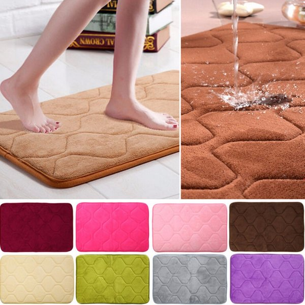 Wholesale  Absorbent Bathroom Mat Memory Foam Non Slip Kitchen Floor Mat  Square Coral Velvet
