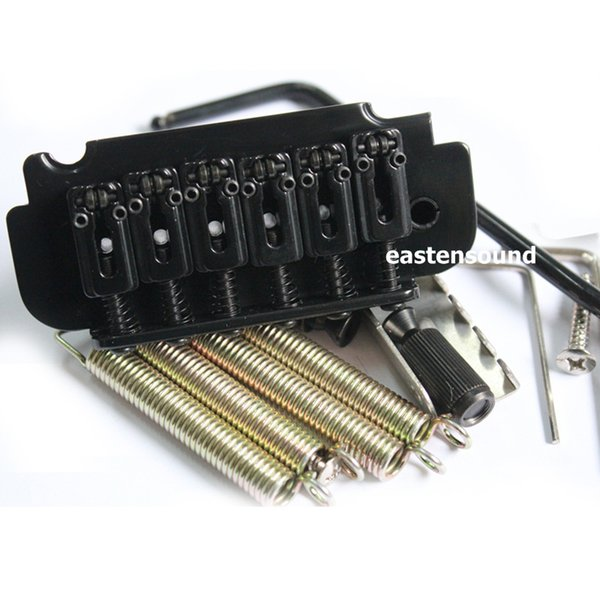 A small black electric guitar vibrato system bridge double roller saddles BS108