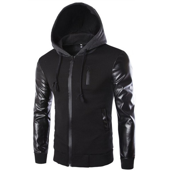 Winter Autumn Men 's Hooded Jacket Coat Fashion Stitching Leather Sleeve Male Zipper Casual Overcoat Black Dark Gray M-2XL