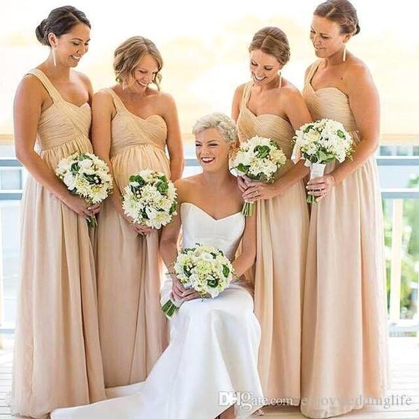 Un hombro luz Champagne gasa vestidos de dama de honor baratos 2017 plisado una línea larga dama de vestidos de boda vestido de huésped formal de la boda BA3932