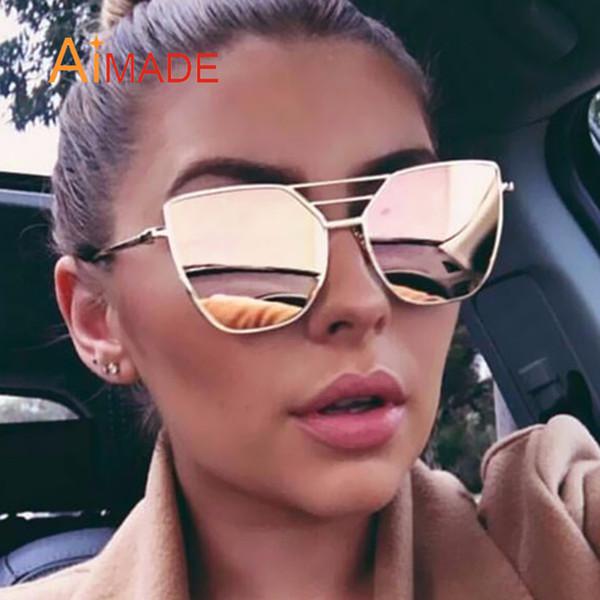 bddbb119467f Wholesale-Aimade 2018 Vintage Brand Designer Cat Eye Sunglasses Women  Fashion Gothic Cateye Mirror Female