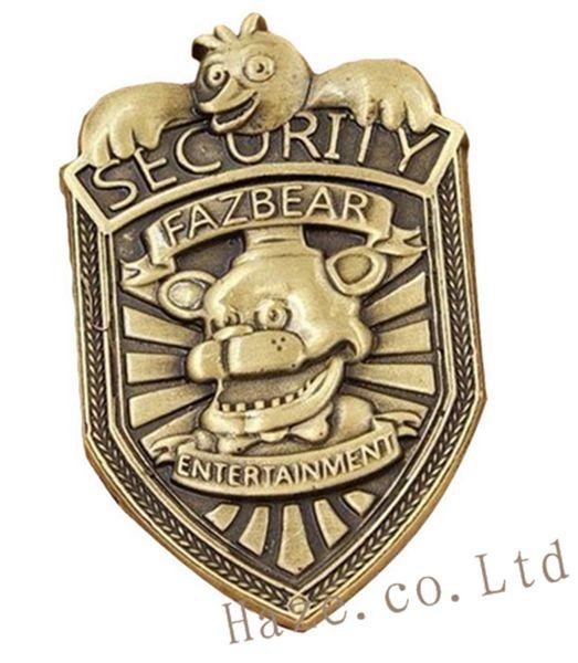Großhandel-FNAF fünf Nächte im Freddy Sicherheitsabzeichen Pin Silber Geschenke 2