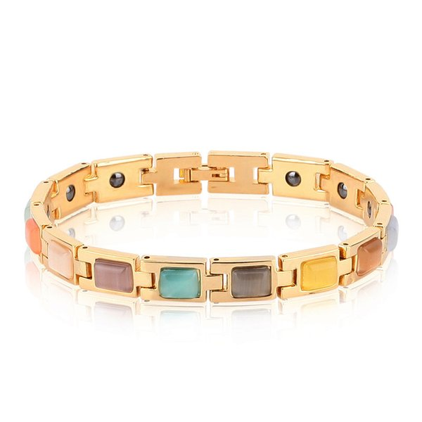 High Quality Creative Exquisite Polishing Copper Gold Plated Health Care Magnetic Bracelets Germanium Element Gem Opal Bracelet & bangle
