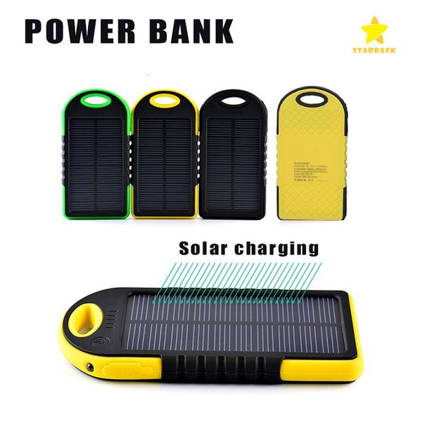 5000mAh Solar Power Bank External Battery Waterproof Shockproof Portable Phone Charger for iPhone 7 Plus Samsung with Retail Packing