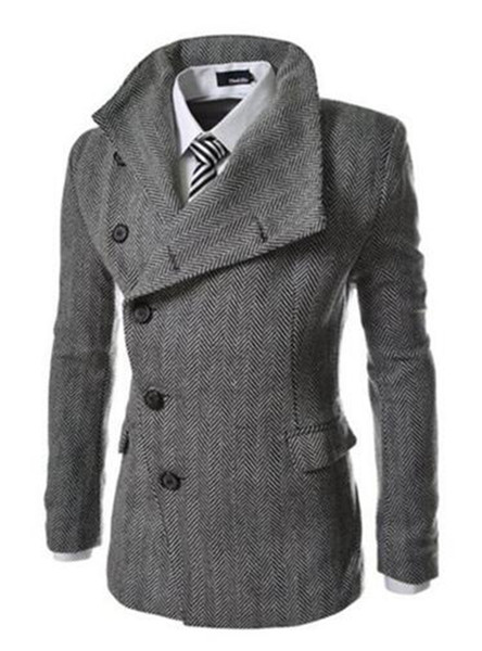 European and American fashion cultivate one's morality men winter new boutique personality herringbone cloth trench coat / M-2XL