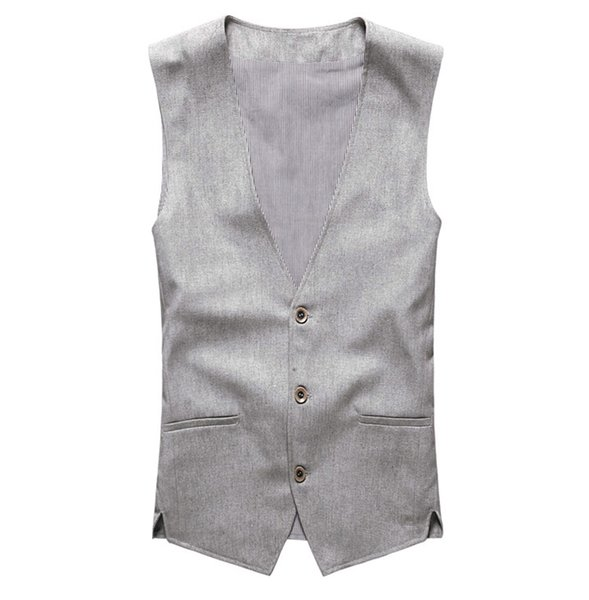 Wholesale- 2017 new spring & summer Khaki color single breasted cotton linen vest casual mens suit vest wedding waistcoat brand clothing