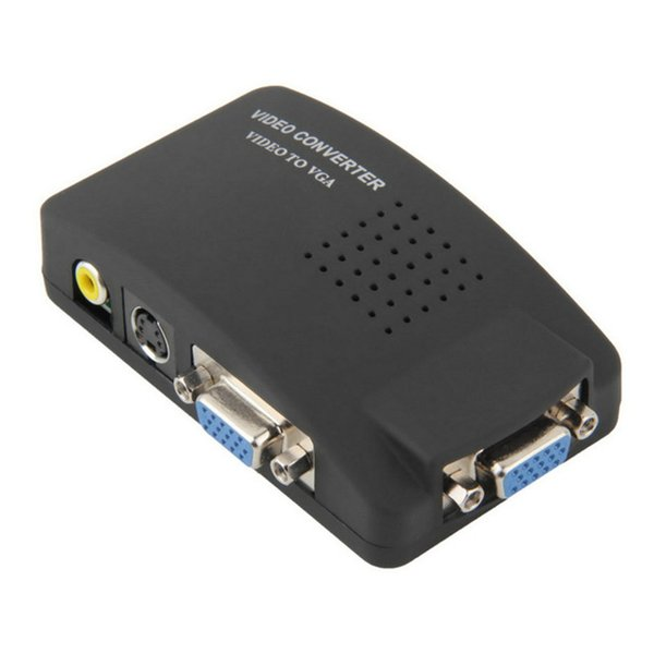 ПК ноутбук композитный AV / S видео для VGA ТВ конвертер монитор адаптер распределительная коробка ЖК-конвертер адаптер распределительная коробка