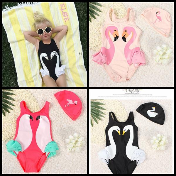 Prezzo a buon mercato 2pcs set bambini costumi da bagno Ins Swan Bikini ragazze fenicotteri pappagallo costume da bagno increspato costume da bagno beachwear berretto con un pezzo bikini