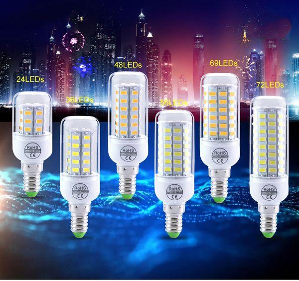 Lampadina a LED E27 E26 E14 Lampada a LED Lampadina a luce di mais 24 36 48 56 69 72 Spot a LED SMD5730 220V 110 V