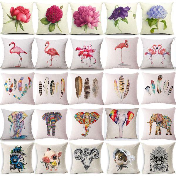 lpink flamingo plumage cushion cover cotton linen sofa chair cushion flower elephen home decorative throw pillow - Sunbrella Outdoor Pillows