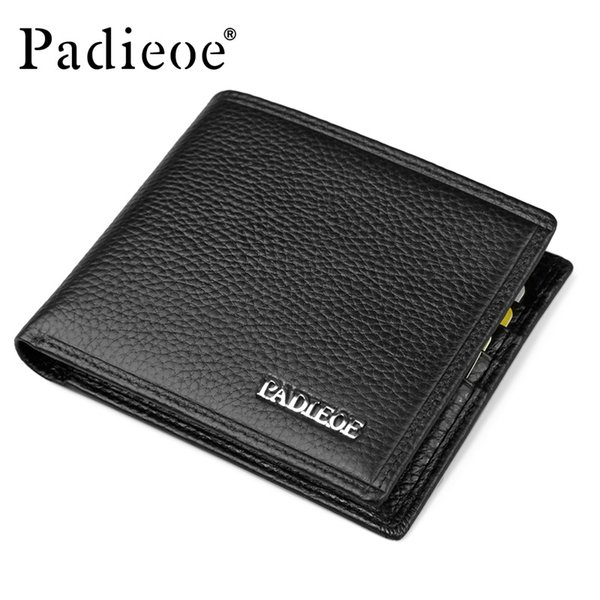 Wholesale- Padieoe Famous Brand Men Wallet Casual Business Men's Short Purse Top Quality 100% Genuine Cow Leather Wallets Card Holders