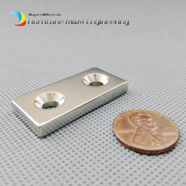 20pcs NdFeB Fix Magnet 40x20x5mm with 2 M5 Screw Countersunk Holes Block N42 Neodymium Rare Earth Permanent Magnet