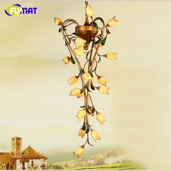 FUMAT Glass Flower Chandeliers American Style Vintage Artistic Light For Living Room Art Deco Stair 21 Flowers Glass Chandelier