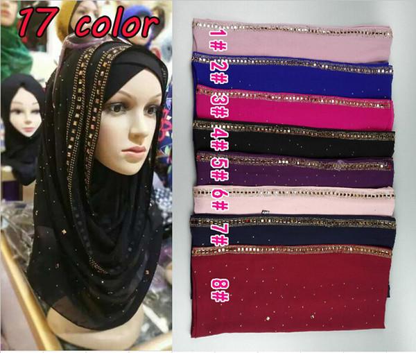 Wholesale-HIGH quality diamond chiffon silk solid color glitter chiffon silk long shawls wrap muslim autumn muslim scarves/scarf 10pcs/lot