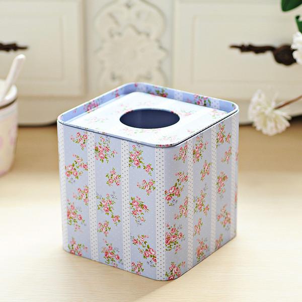 Großhandels- Freies Verschiffen hellblauer Blume Entwurfs-Gesichtspapier-Kasten-Quadrat-Servietten-Halter-Metallgewebe-Kasten-Quadratmetallkasten Heißer Verkauf