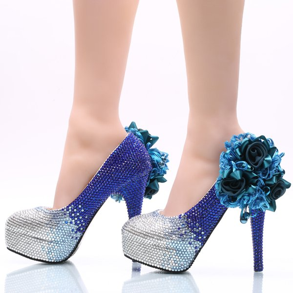 Silver Royal Ombre Cinderella Shoes Crystal Flower Prom Evening High Heels Gems Rhinestones Bridal Bridesmaid Shoes 5 8 11 14cm Heels 011 Paradox