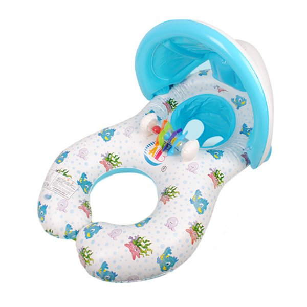 top popular Shade Swim Float Circle Ring Inflatable Mother and Baby Kids Seat With Sunshade Swimming Pool 2021