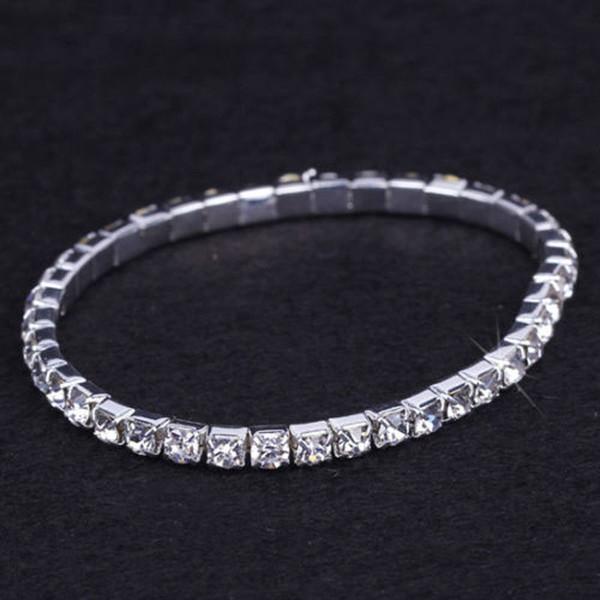 24 pieces Lot Wedding Bridal Jewelry Elastic Crystal Rhinestone Stretch Silver Womens Bracelet Bangle Wholesale Wedding Accessories