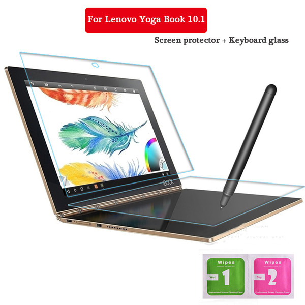 Wholesale-For Lenovo Yoga Book 10.1 Inch Tempered Glass + Keyboard Glass Screen Protect Tablet PC Film 2.5D Edge 9H Transparent Ultra-thin