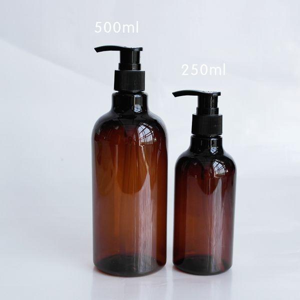 Atacado-250ml 500ml Brown garrafa Hydrosol Shampoo engarrafamento de fábrica atacado divisão vazio plástico garrafa cosmética pacote