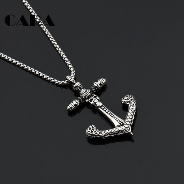 En acier inoxydable solide Vintage silver cross Hommes Pendentif Chaîne Collier Bijoux