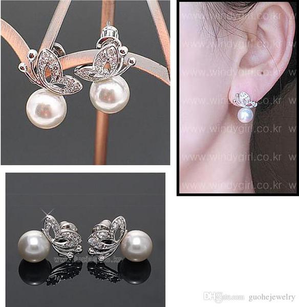 Moda Liga de Pérola Da Borboleta Do Parafuso Prisioneiro Colar Novos conjuntos de jóias elegante para as mulheres Frete Grátis