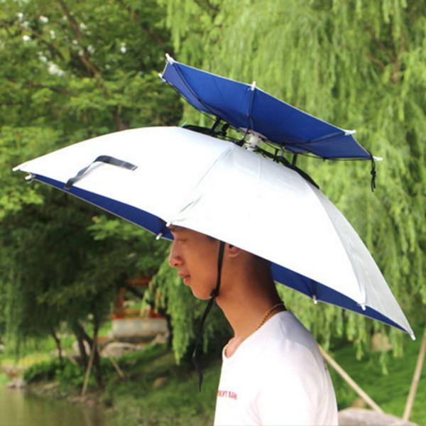 Sun Umbrella Cap Double-deck Silver Coating Beach Sunny Outdoor Large Cycling Fishing Hiking Folding Rainy Anti UV Wind Umbrella Hat Cap